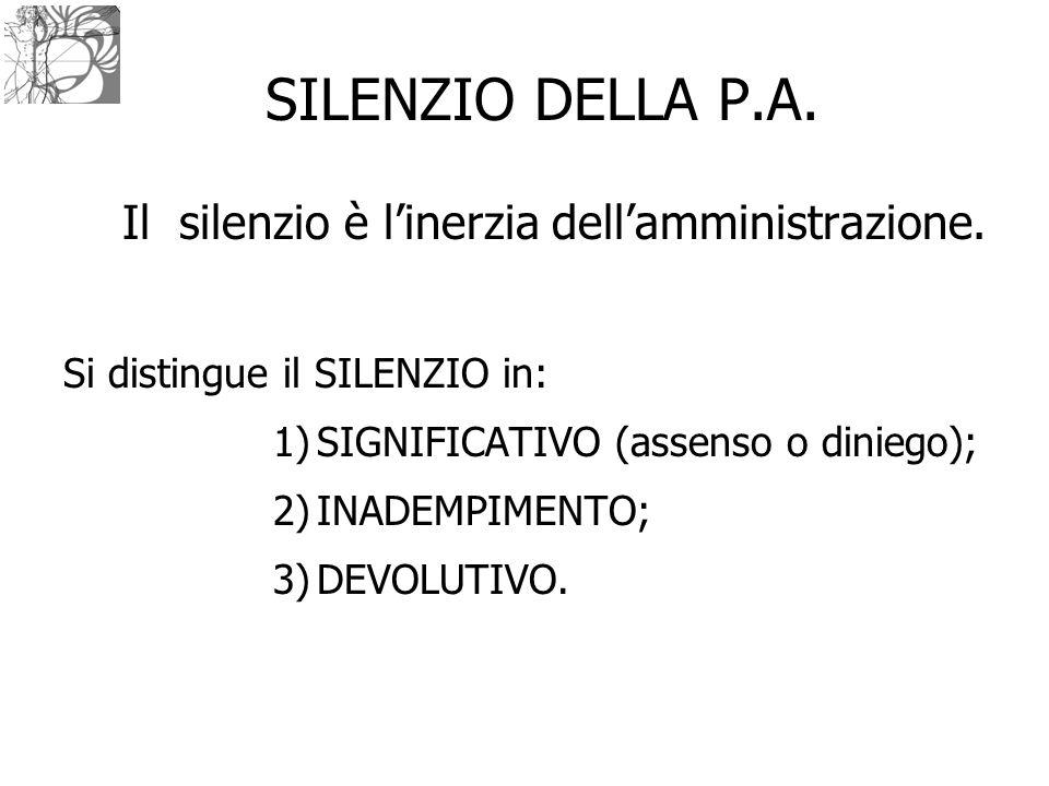 SILENZIO DELLA P.A. Il silenzio è l'inerzia dell'amministrazione.