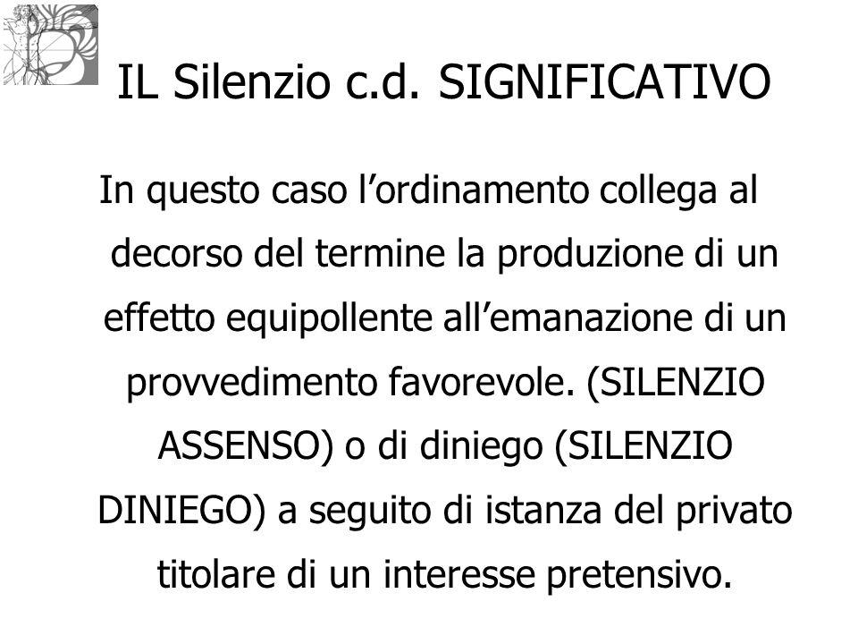 IL Silenzio c.d. SIGNIFICATIVO