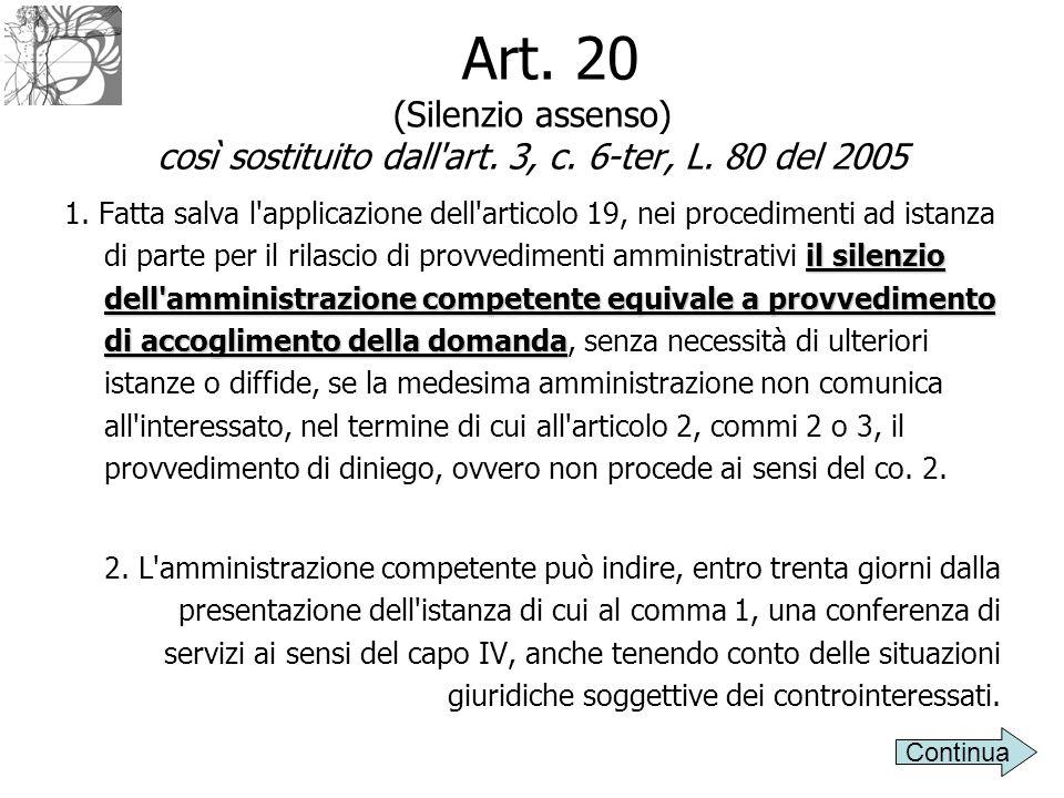 Art. 20 (Silenzio assenso) così sostituito dall art. 3, c. 6-ter, L