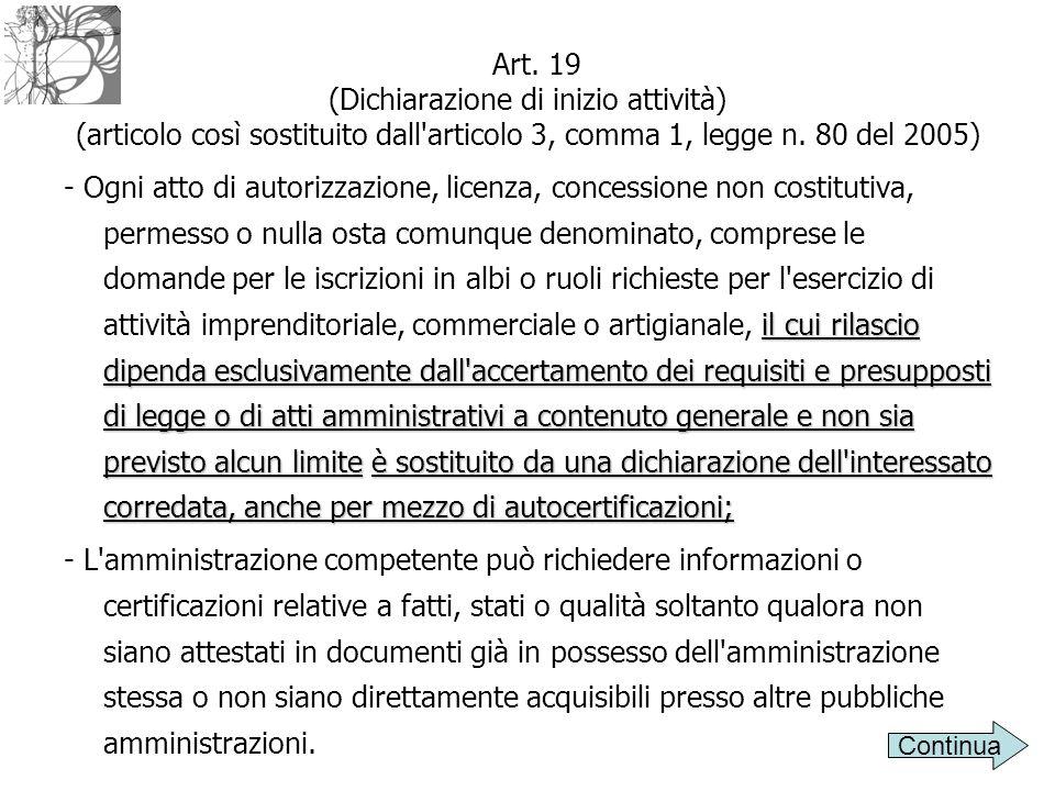 Art. 19 (Dichiarazione di inizio attività) (articolo così sostituito dall articolo 3, comma 1, legge n. 80 del 2005)