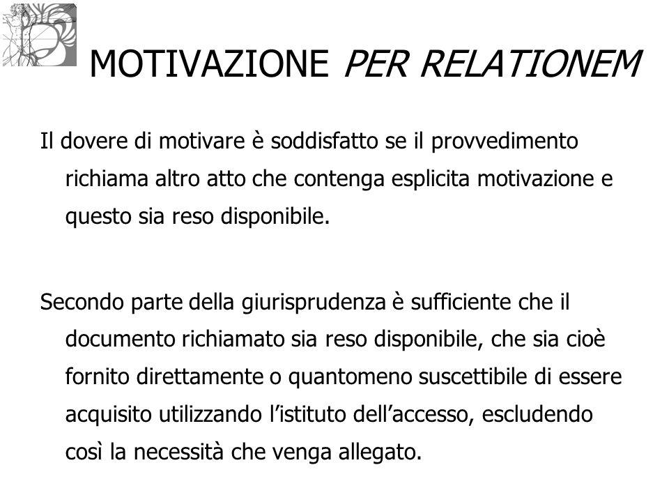 MOTIVAZIONE PER RELATIONEM