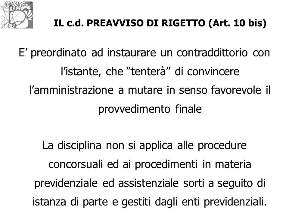 IL c.d. PREAVVISO DI RIGETTO (Art. 10 bis)