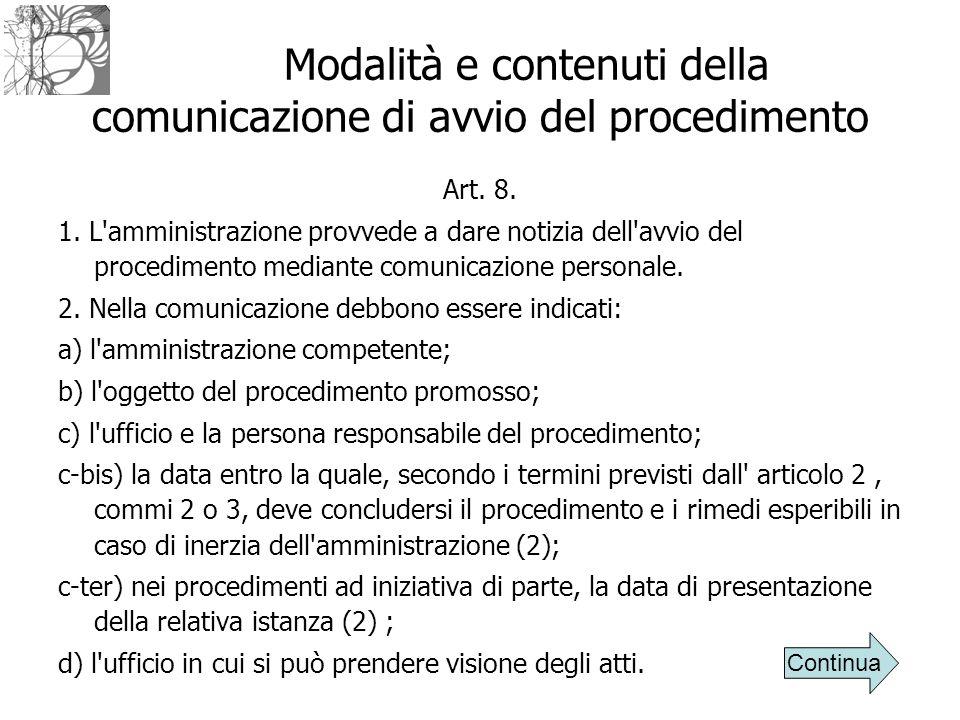 Modalità e contenuti della comunicazione di avvio del procedimento