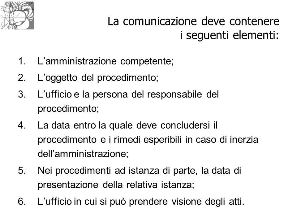La comunicazione deve contenere i seguenti elementi: