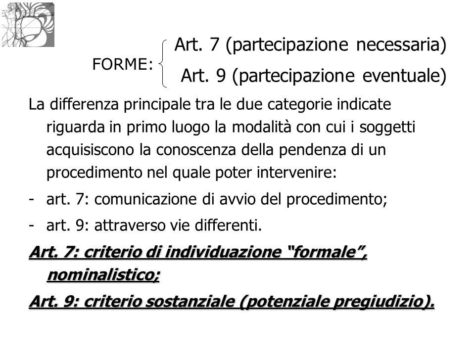 Art. 7 (partecipazione necessaria) Art. 9 (partecipazione eventuale)