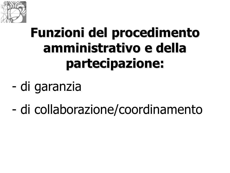Funzioni del procedimento amministrativo e della partecipazione: