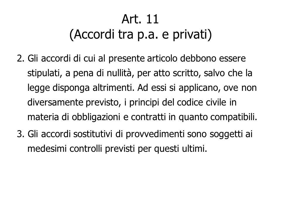 Art. 11 (Accordi tra p.a. e privati)