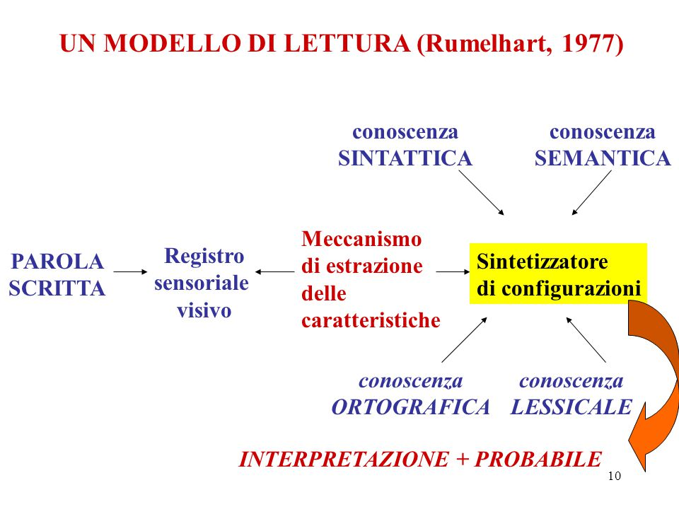 UN MODELLO DI LETTURA (Rumelhart, 1977)