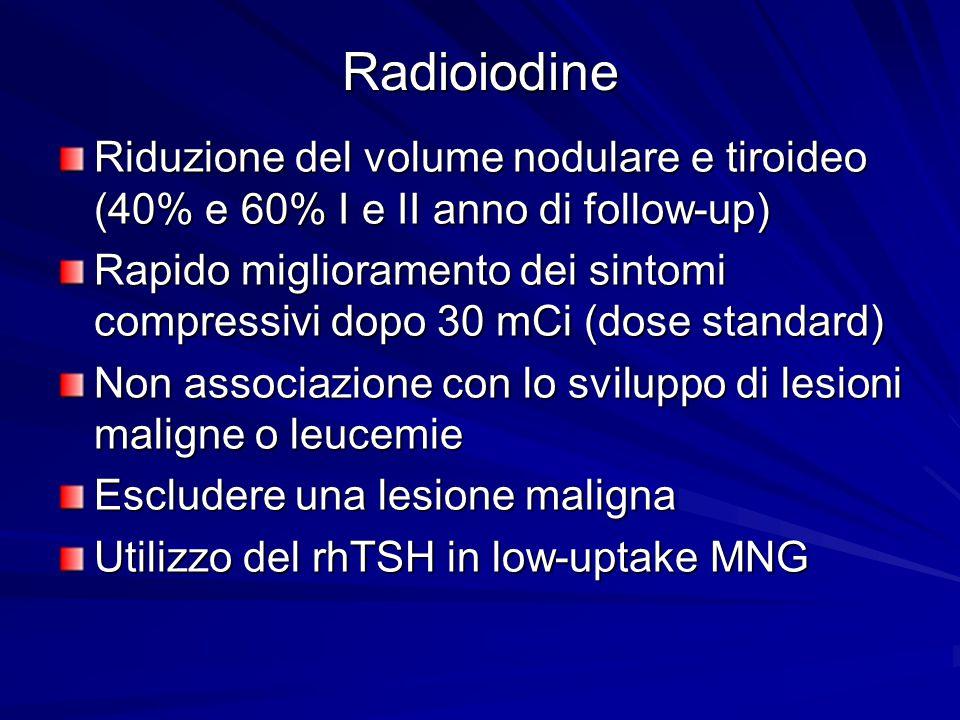 Radioiodine Riduzione del volume nodulare e tiroideo (40% e 60% I e II anno di follow-up)