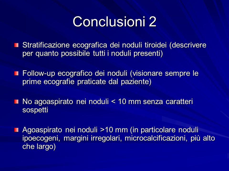 Conclusioni 2 Stratificazione ecografica dei noduli tiroidei (descrivere per quanto possibile tutti i noduli presenti)
