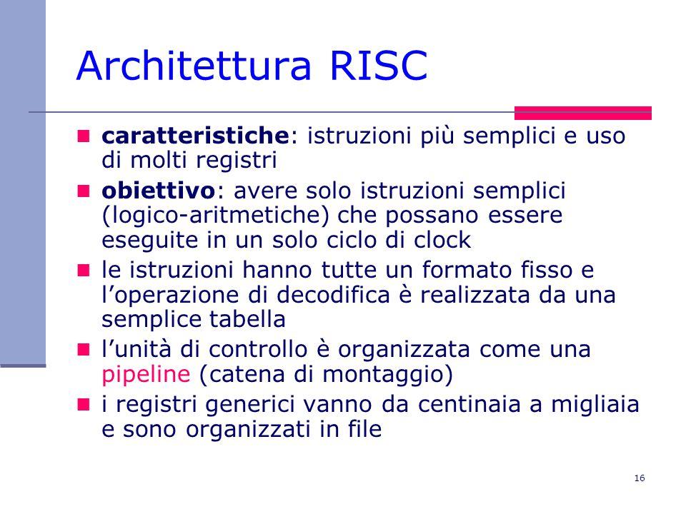 Architettura RISC caratteristiche: istruzioni più semplici e uso di molti registri.