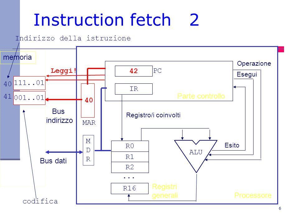 Instruction fetch 2 Indirizzo della istruzione memoria Leggi! 42 PC