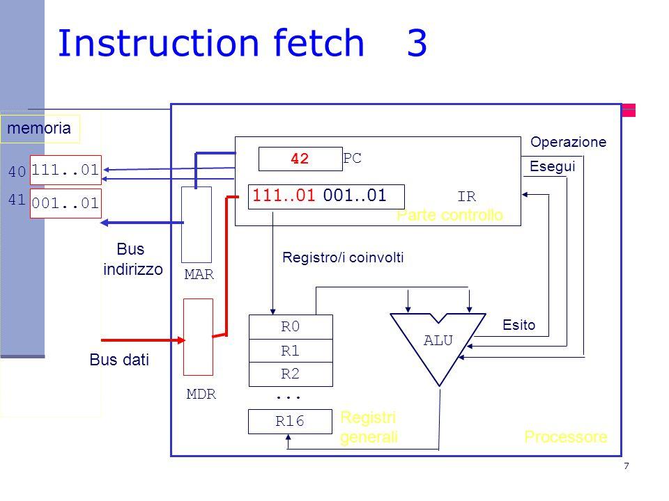 Instruction fetch 3 memoria 42 PC 111..01 40 41 001..01