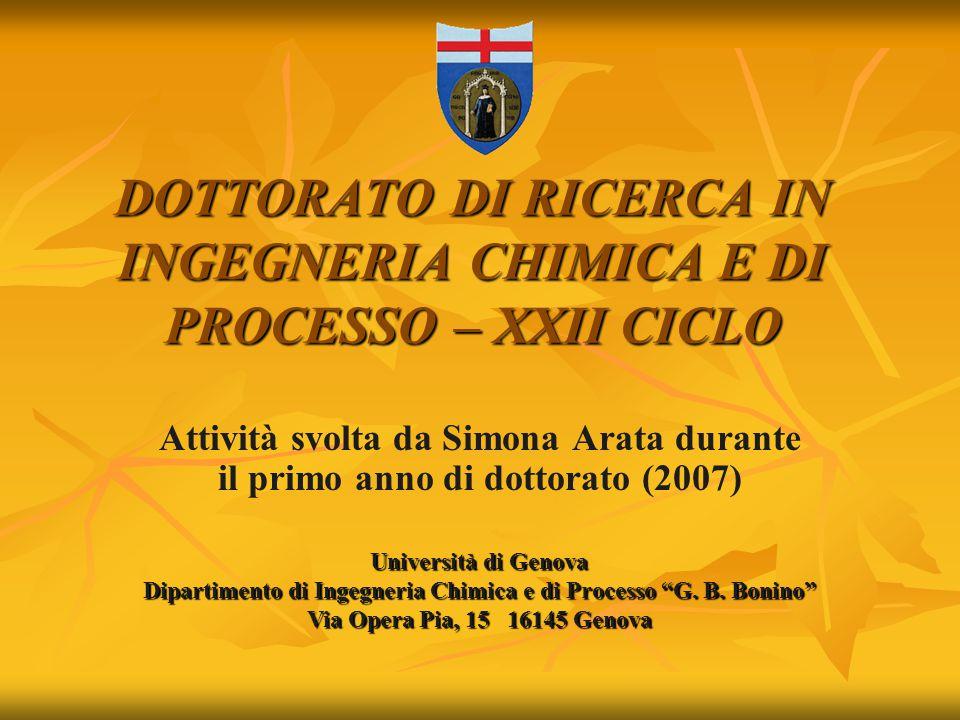DOTTORATO DI RICERCA IN INGEGNERIA CHIMICA E DI PROCESSO – XXII CICLO