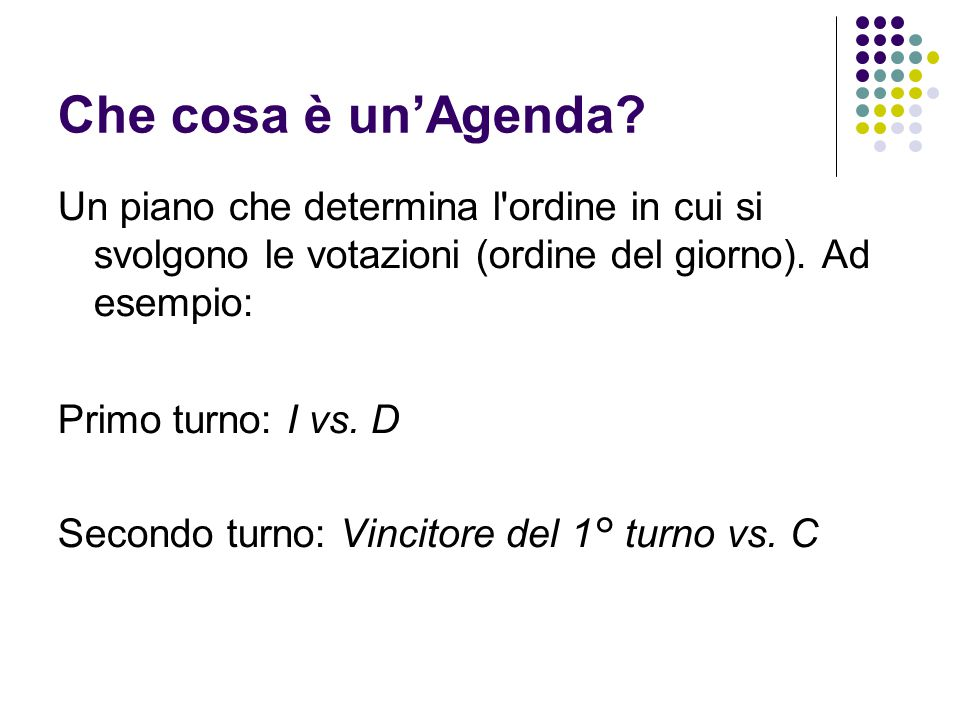 Che cosa è un'Agenda Un piano che determina l ordine in cui si svolgono le votazioni (ordine del giorno). Ad esempio: