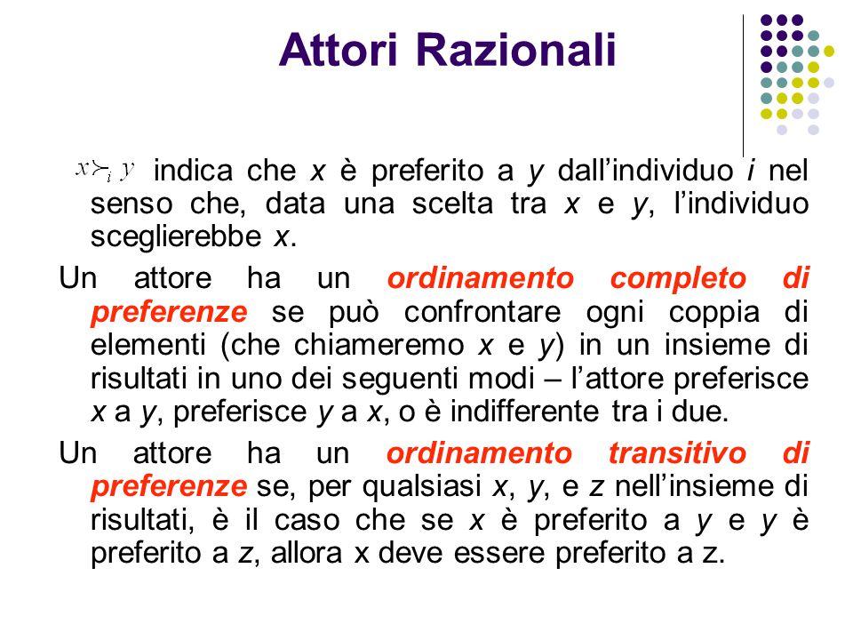 Attori Razionali indica che x è preferito a y dall'individuo i nel senso che, data una scelta tra x e y, l'individuo sceglierebbe x.