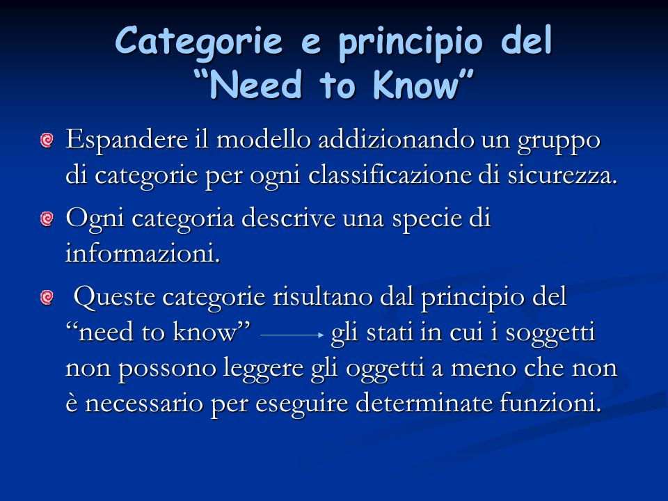 Categorie e principio del Need to Know