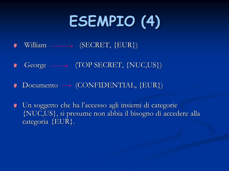 ESEMPIO (4) William (SECRET, {EUR}) George (TOP SECRET, {NUC,US})