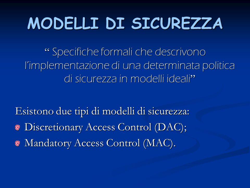 MODELLI DI SICUREZZA Specifiche formali che descrivono l'implementazione di una determinata politica di sicurezza in modelli ideali