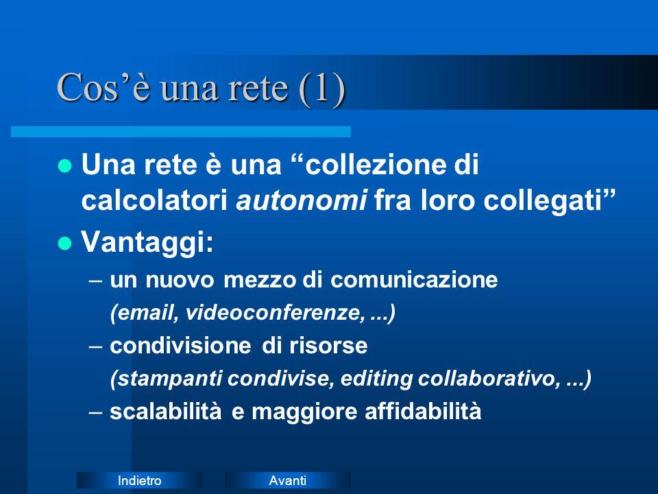 Cos'è una rete (1) Una rete è una collezione di calcolatori autonomi fra loro collegati Vantaggi: