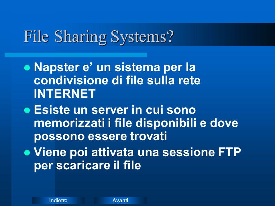 File Sharing Systems Napster e' un sistema per la condivisione di file sulla rete INTERNET.