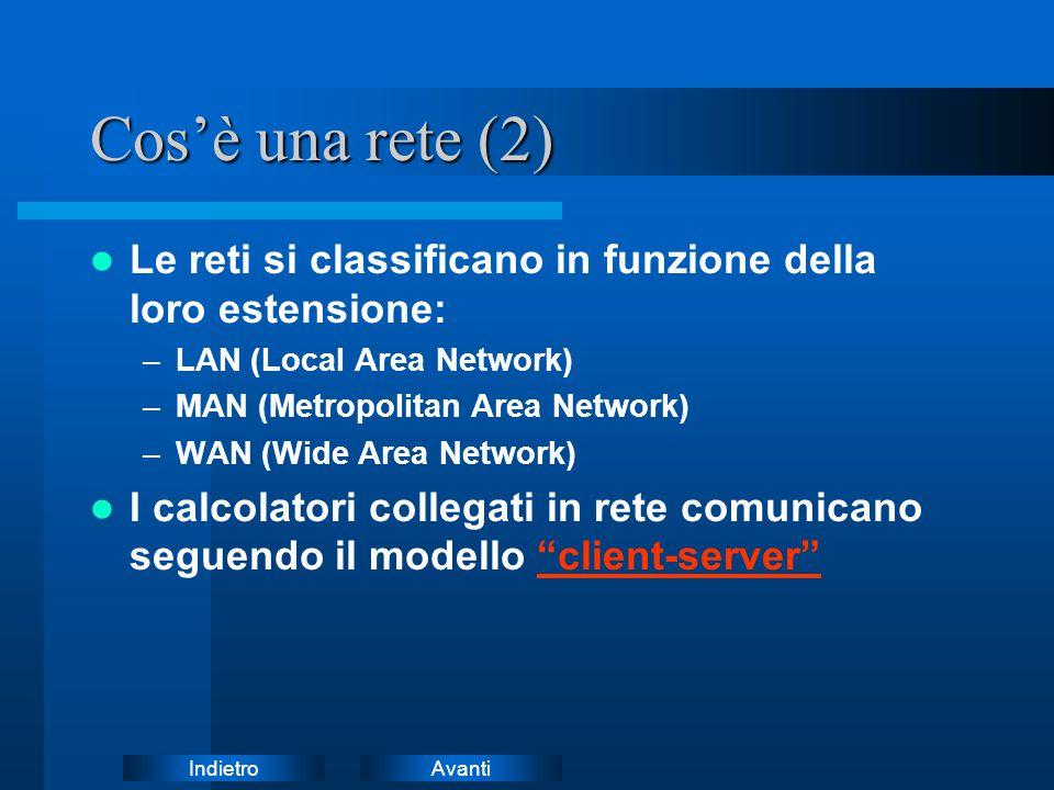 Cos'è una rete (2) Le reti si classificano in funzione della loro estensione: LAN (Local Area Network)