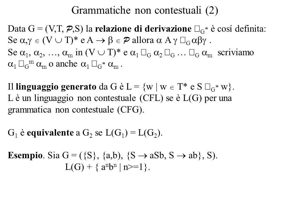Grammatiche non contestuali (2)