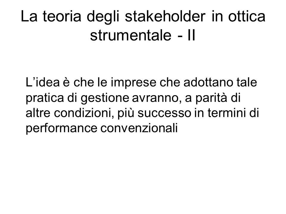La teoria degli stakeholder in ottica strumentale - II