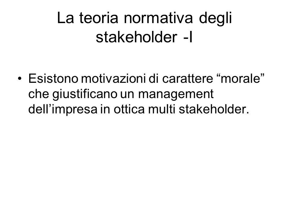 La teoria normativa degli stakeholder -I