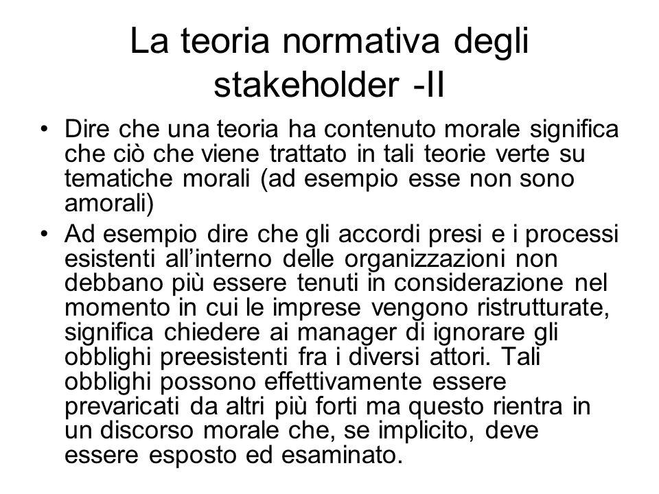 La teoria normativa degli stakeholder -II