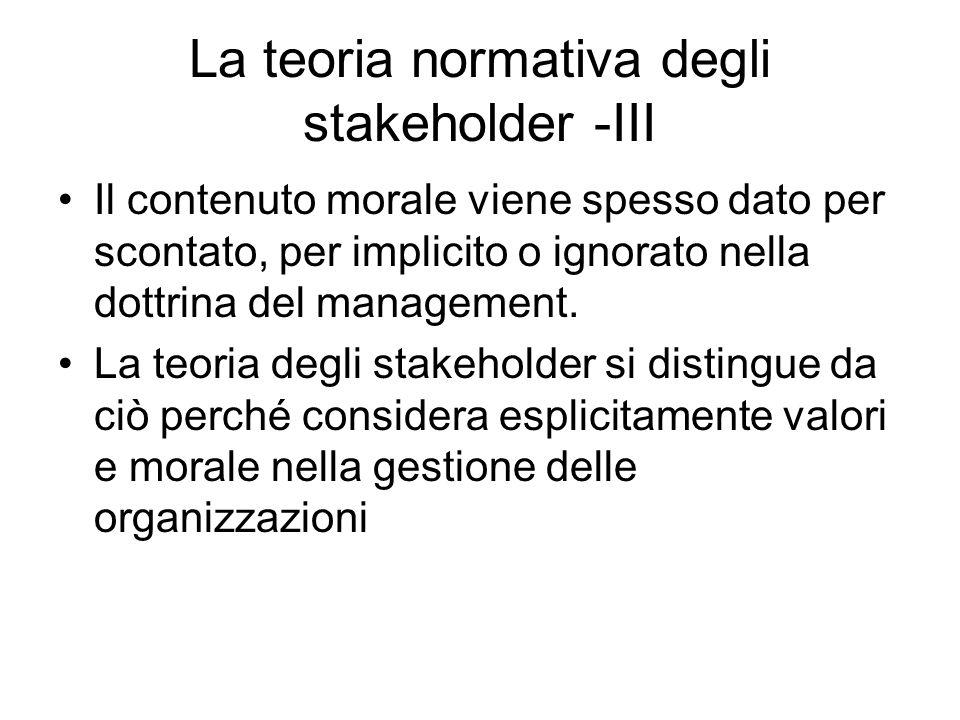 La teoria normativa degli stakeholder -III