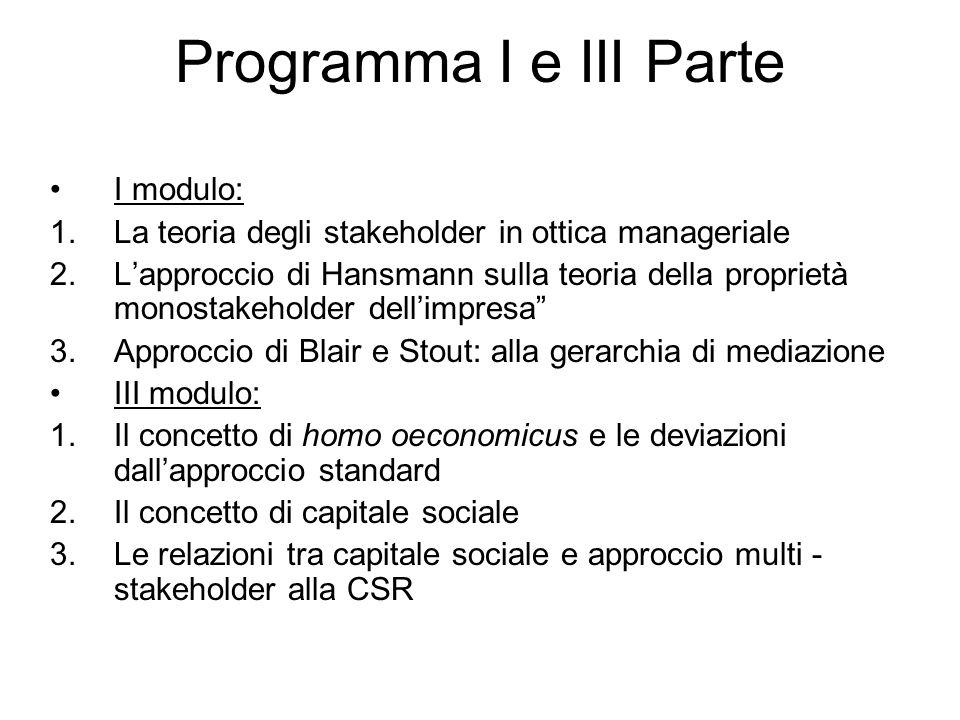 Programma I e III Parte I modulo: