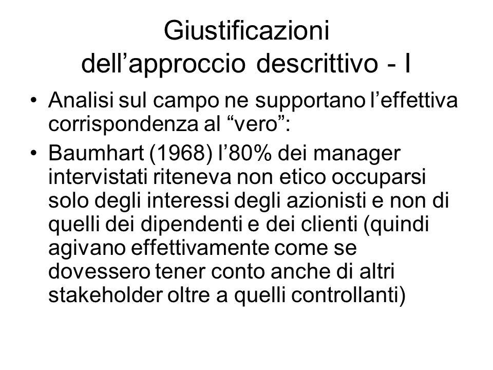 Giustificazioni dell'approccio descrittivo - I