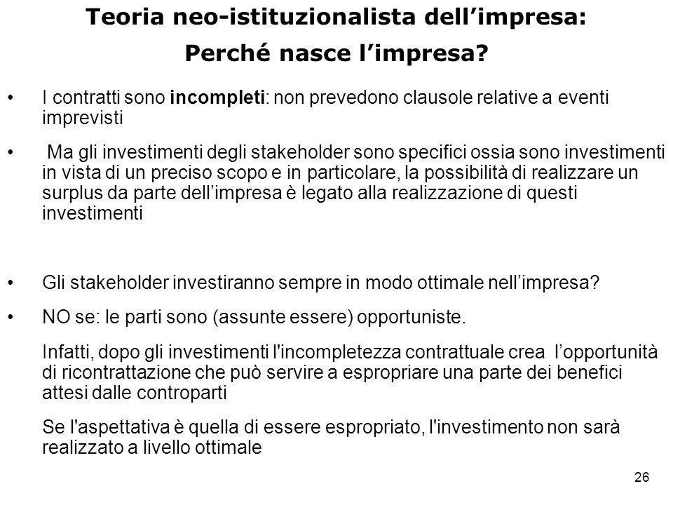 Teoria neo-istituzionalista dell'impresa: