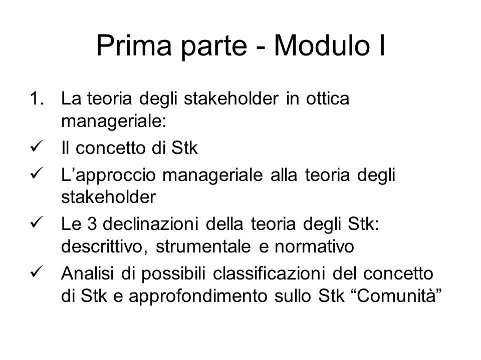 Prima parte - Modulo I La teoria degli stakeholder in ottica manageriale: Il concetto di Stk. L'approccio manageriale alla teoria degli stakeholder.