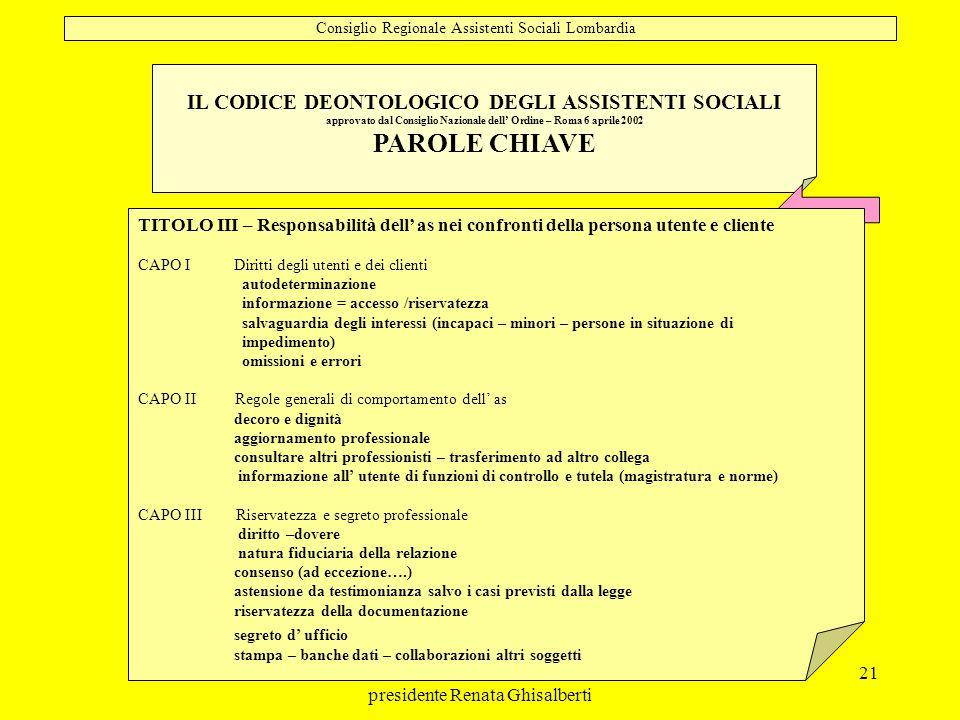 PAROLE CHIAVE IL CODICE DEONTOLOGICO DEGLI ASSISTENTI SOCIALI