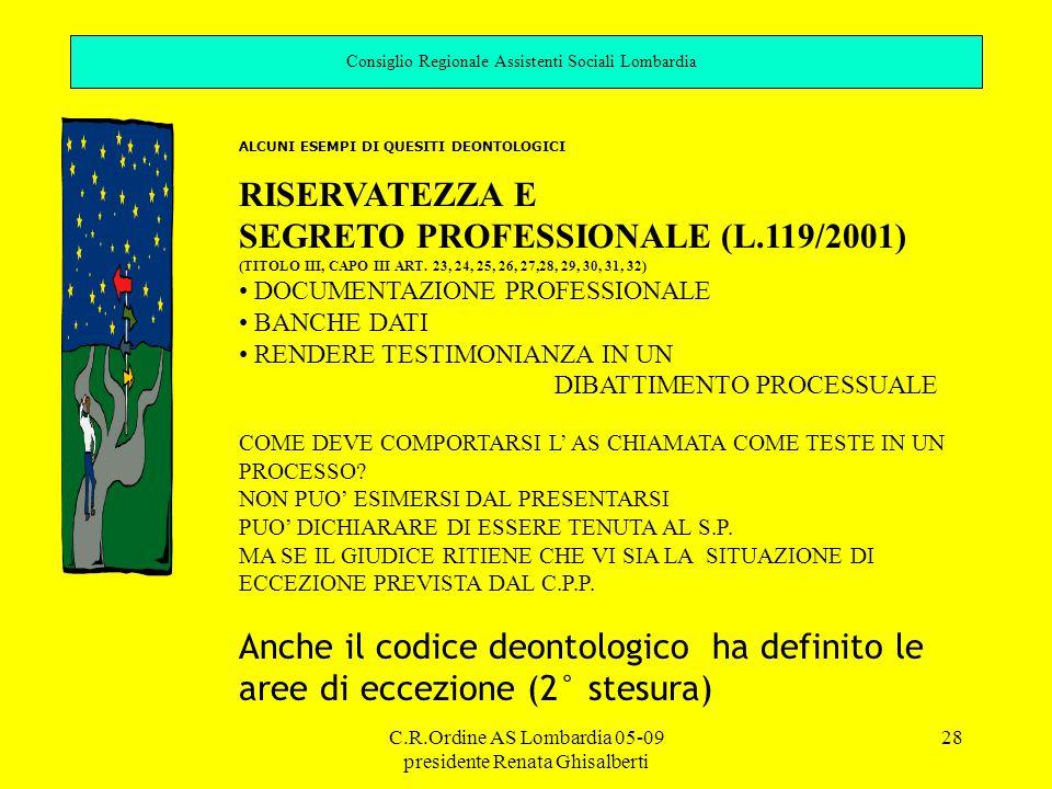 SEGRETO PROFESSIONALE (L.119/2001)