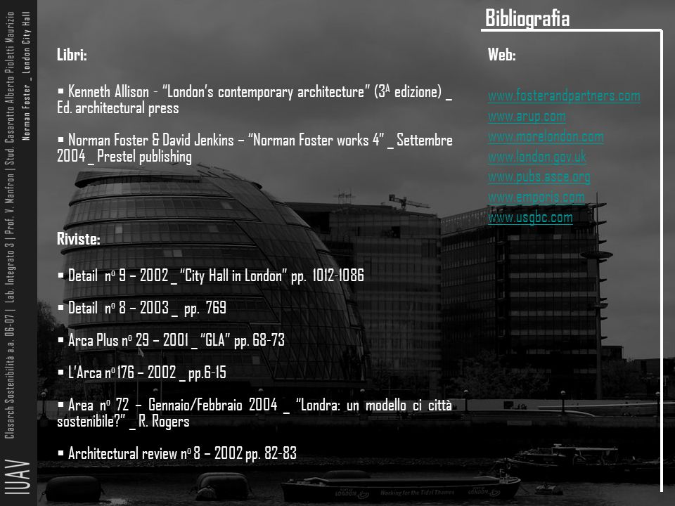 Bibliografia Libri: Kenneth Allison - London's contemporary architecture (3A edizione) _ Ed. architectural press.