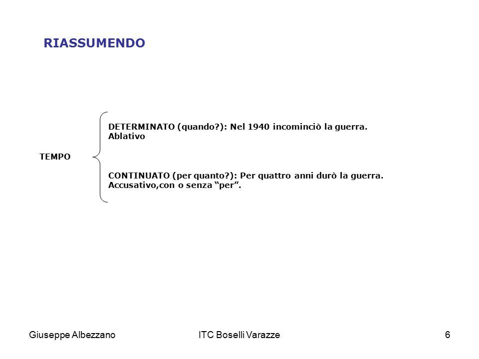 RIASSUMENDO Giuseppe Albezzano ITC Boselli Varazze