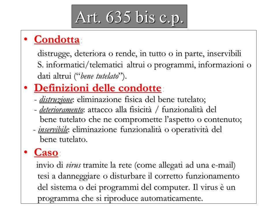 Art. 635 bis c.p. Condotta: Definizioni delle condotte: Caso: