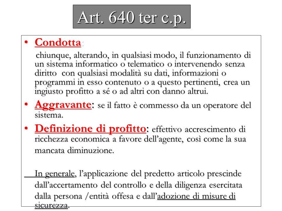 Art. 640 ter c.p. Condotta: