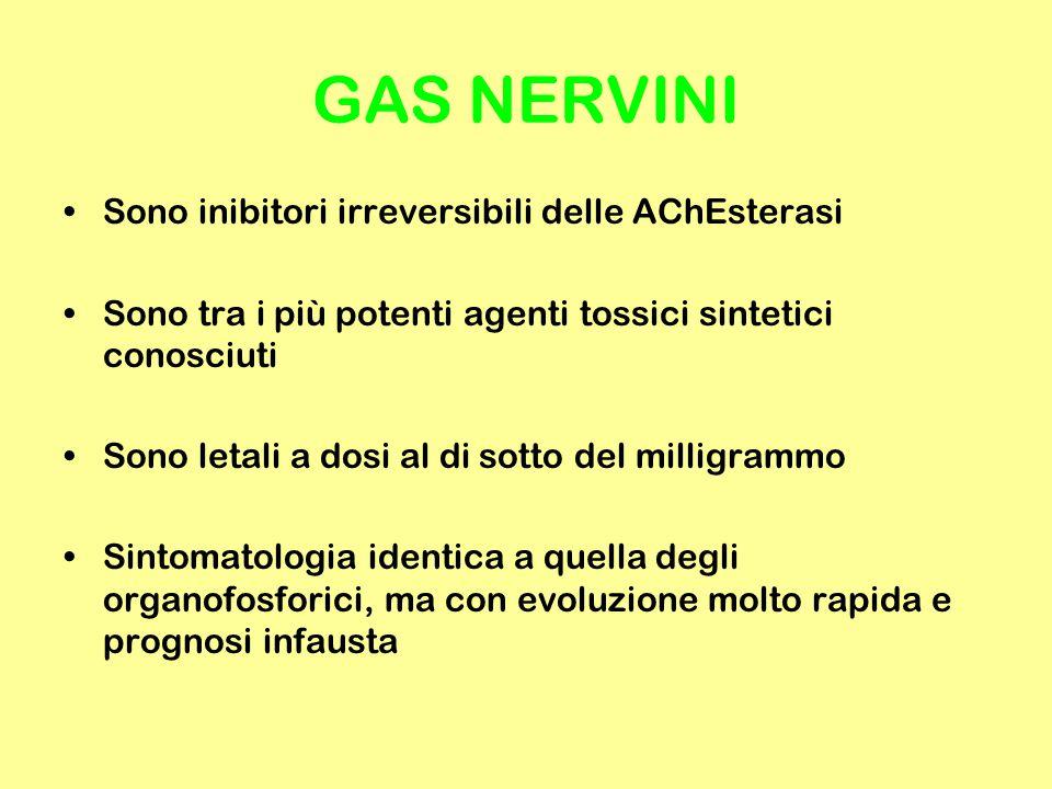 GAS NERVINI Sono inibitori irreversibili delle AChEsterasi