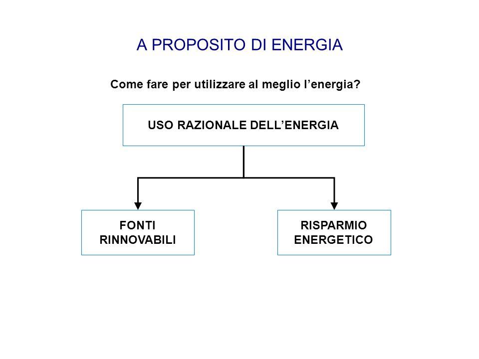 A PROPOSITO DI ENERGIA Come fare per utilizzare al meglio l'energia