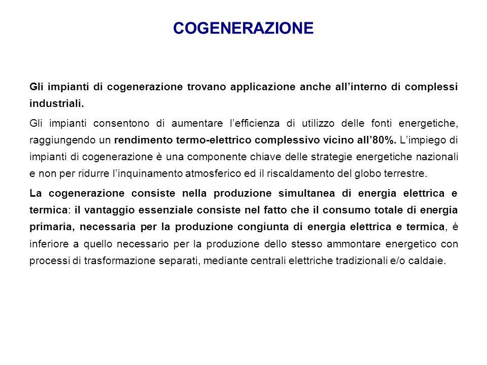 COGENERAZIONE Gli impianti di cogenerazione trovano applicazione anche all'interno di complessi industriali.