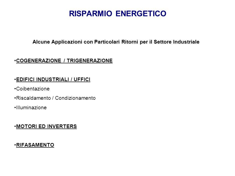 RISPARMIO ENERGETICO Alcune Applicazioni con Particolari Ritorni per il Settore Industriale. COGENERAZIONE / TRIGENERAZIONE.