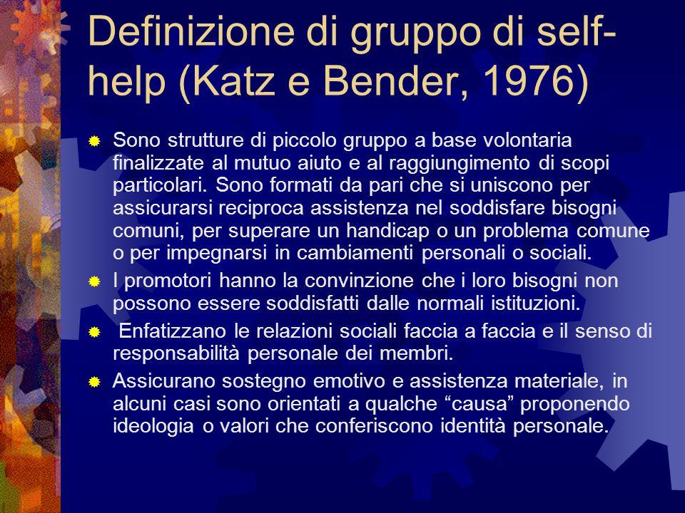 Definizione di gruppo di self-help (Katz e Bender, 1976)