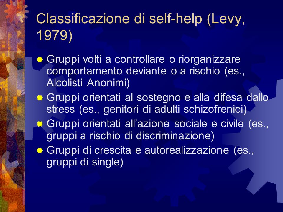 Classificazione di self-help (Levy, 1979)