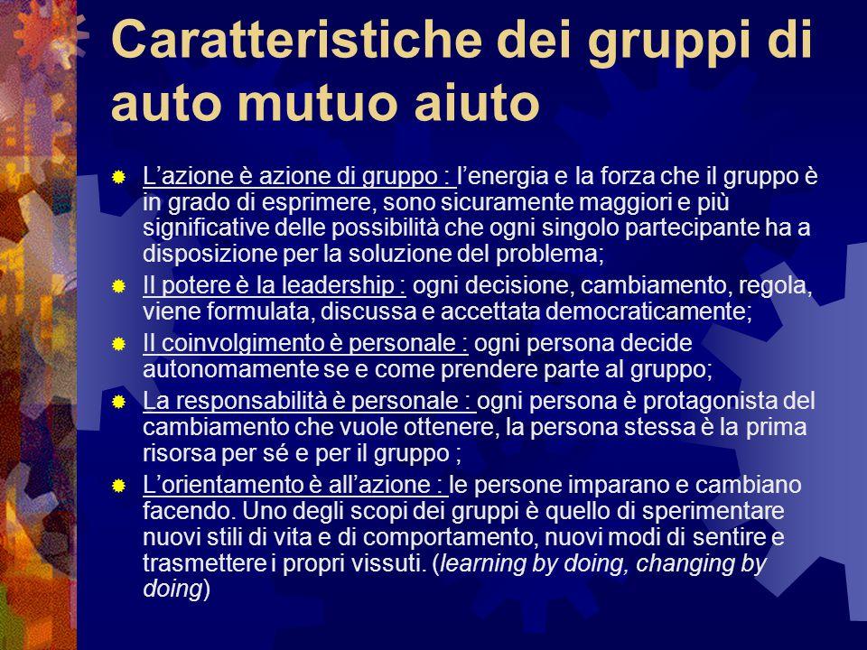 Caratteristiche dei gruppi di auto mutuo aiuto