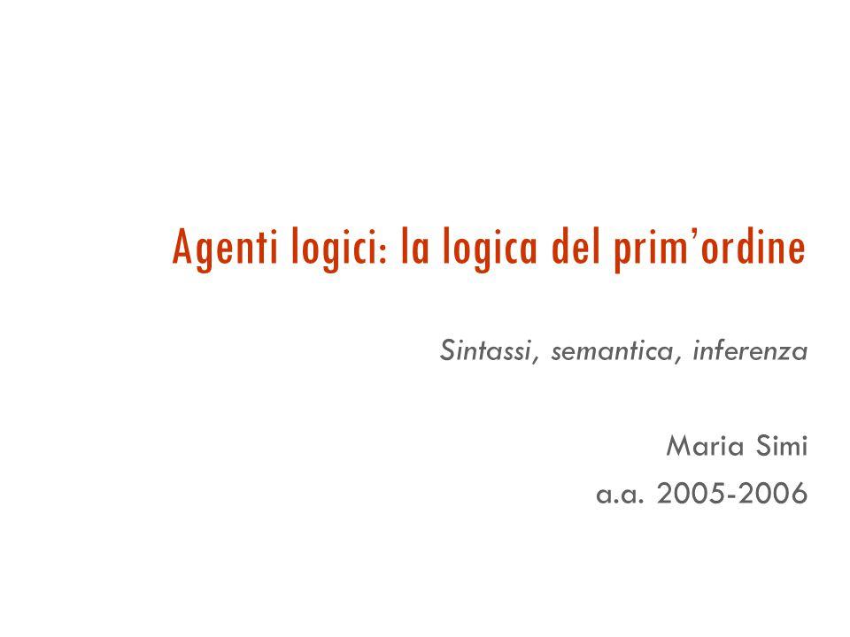 Agenti logici: la logica del prim'ordine