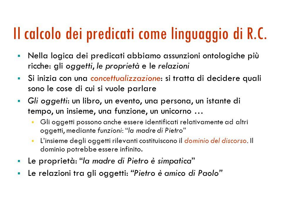 Il calcolo dei predicati come linguaggio di R.C.